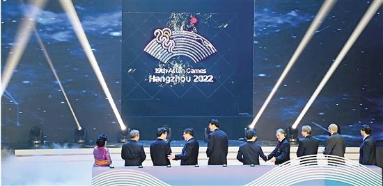 """""""潮涌""""杭州2022年亚运会会徽揭晓 """"潮涌""""初亮相 江"""